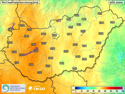Hungarian map of sunshine duration