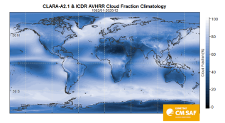 global map of the cloud fraction climatology for 1982-2020 (refer to: CM SAF provides new global near-realtime data for climate monitoring)