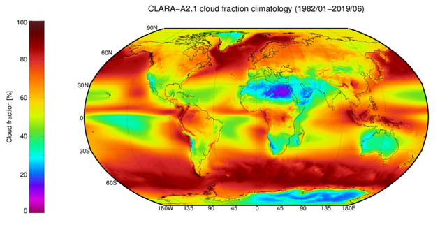 Climatological mean field of cloud fractional coverage