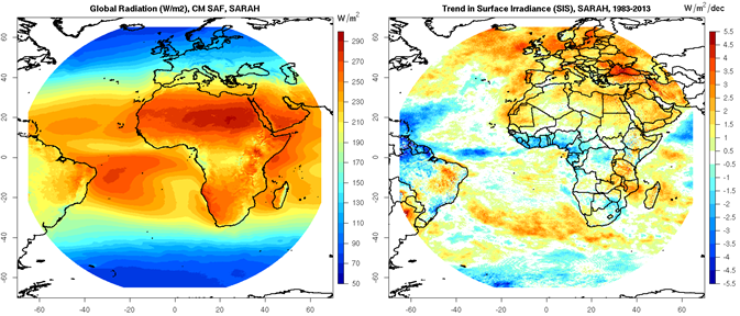 SARAH (refer to: Release of the new Surface Solar Radiation Data Set - Heliosat (SARAH))