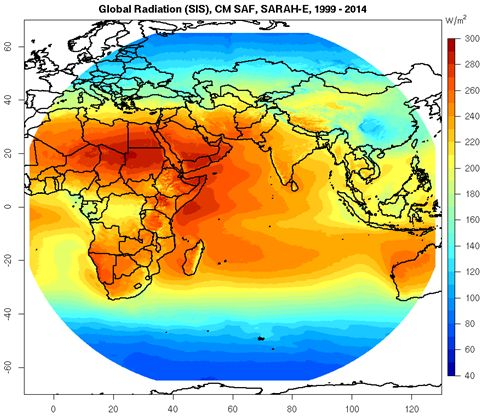 SIS, CM SAF, SARAH-E, 1999-2014 (refer to: Availability of new SARAH-E data set, covering the Indian Ocean and surroundings)