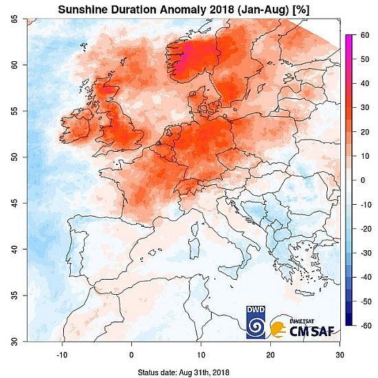 Sunshine Duration Anomaly 2018